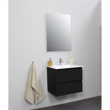 Sub Online flatpack onderkast met porseleinen wastafel 1 kraangat met spiegel 60x55x46cm, mat zwart