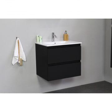Sub Online flatpack onderkast met porseleinen wastafel 1 kraangat 60x55x46cm, mat zwart