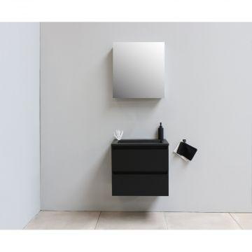 Sub Online flatpack onderkast met acryl wastafel slate structuur zonder kraangat met 1 deurs spiegelkast grijs 60x55x46cm, mat zwart