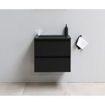 Sub Online flatpack onderkast met acryl wastafel slate structuur zonder kraangat 60x55x46cm, mat zwart