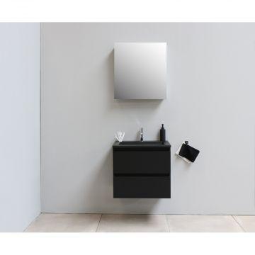 Sub Online flatpack onderkast met acryl wastafel slate structuur 1 kraangat met 1 deurs spiegelkast grijs 60x55x46cm, mat zwart