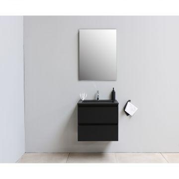Sub Online flatpack onderkast met acryl wastafel slate structuur 1 kraangat met spiegel 60x55x46cm, mat zwart