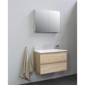 Sub Online flatpack onderkast met acryl wastafel zonder kraangat met 2 deurs spiegelkast grijs 80x55x46cm, eiken