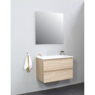 Sub Online flatpack onderkast met acryl wastafel zonder kraangat met spiegel 80x55x46cm, eiken