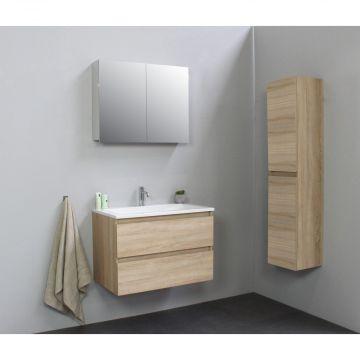 Sub Online flatpack onderkast met acryl wastafel 1 kraangat met 2 deurs spiegelkast grijs 80x55x46cm, eiken