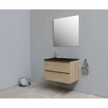 Sub Online flatpack onderkast met acryl wastafel slate structuur zonder kraangat met spiegel 80x55x46cm, eiken