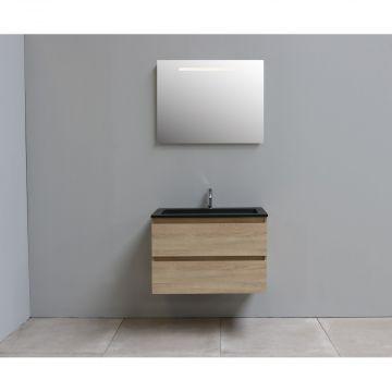 Sub Online flatpack onderkast met acryl wastafel slate structuur 1 kraangat met spiegel met geintegreerde LED verlichting 80x55x46cm, eiken