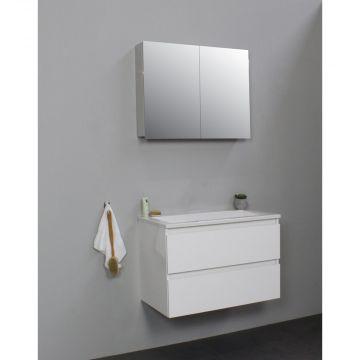 Sub Online flatpack onderkast met acryl wastafel zonder kraangat met 2 deurs spiegelkast grijs 80x55x46cm, hoogglans wit