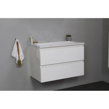 Sub Online flatpack onderkast met acryl wastafel zonder kraangat 80x55x46cm, hoogglans wit