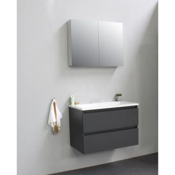 Sub Online flatpack onderkast met acryl wastafel zonder kraangat met 2 deurs spiegelkast grijs 80x55x46cm, mat antraciet