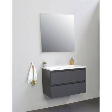 Sub Online flatpack onderkast met acryl wastafel zonder kraangat met spiegel 80x55x46cm, mat antraciet