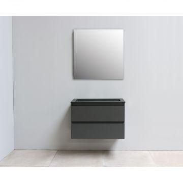 Sub Online flatpack onderkast met acryl wastafel slate structuur zonder kraangat met spiegel 80x55x46cm, mat antraciet