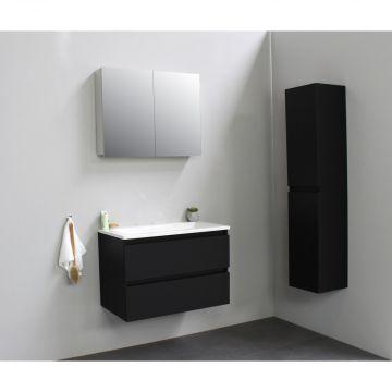 Sub Online flatpack onderkast met acryl wastafel zonder kraangat met 2 deurs spiegelkast grijs 80x55x46cm, mat zwart