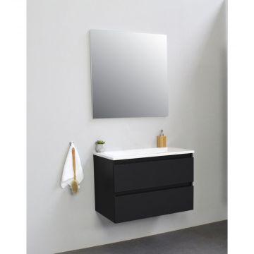 Sub Online flatpack onderkast met acryl wastafel zonder kraangat met spiegel 80x55x46cm, mat zwart