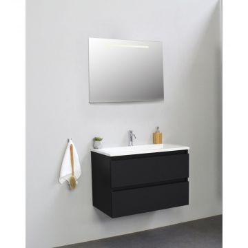 Sub Online flatpack onderkast met acryl wastafel 1 kraangat met spiegel met geintegreerde LED verlichting 80x55x46cm, mat zwart