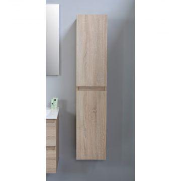 Sub Online flatpack greeploze hoge kast met 2 deuren 145 x 30 x 30 cm, eiken