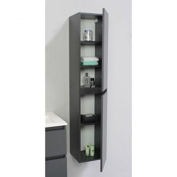 Sub Online flatpack greeploze hoge kast met 2 deuren 145 x 30 x 30 cm, mat antraciet