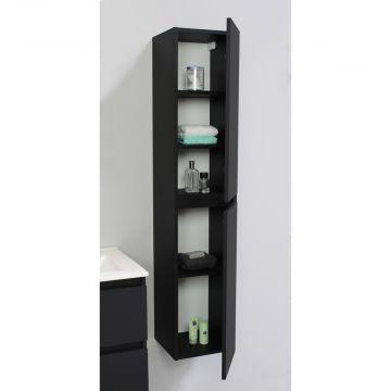 Sub Online flatpack greeploze hoge kast met 2 deuren 145 x 30 x 30 cm, mat zwart