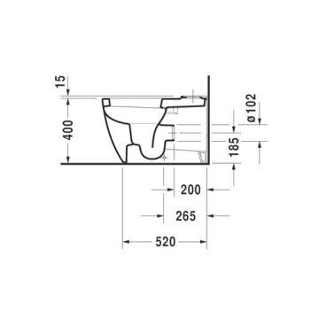 Duravit Me by starck closet staand 370x415x650mm diepsp. gesloten wit, wit