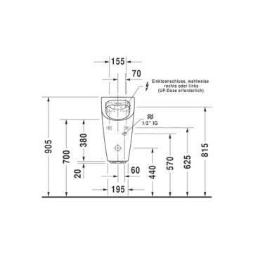 Duravit Me by starck elektr urinoir 300x605x350mm riml inc/mont.mat wit, wit