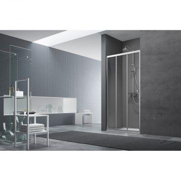 Alterna Free basic deur schuif 3delig 90x190cm chroom/helder glas, chroom look-helder