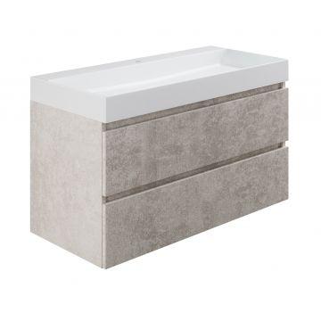 Sub wastafelonderkast inclusief 2 lades met houten greeplijst, 100x45x50 cm, beton zilver