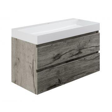 Sub wastafelonderkast inclusief 2 lades met houten greeplijst, 100x45x50 cm, cape elm