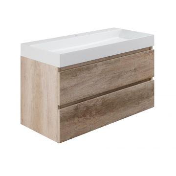 Sub wastafelonderkast inclusief 2 lades met houten greeplijst, 100x45x50 cm, nebraska eiken