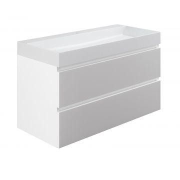 Sub wastafelonderkast inclusief 2 lades met houten greeplijst, 100x45x50 cm, wit glans