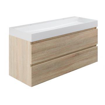 Sub wastafelonderkast inclusief 2 lades met houten greeplijst, 120x45x50 cm, bardolino eiken