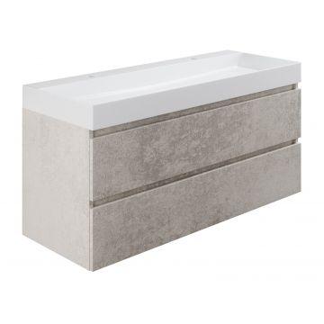Sub wastafelonderkast inclusief 2 lades met houten greeplijst, 120x45x50 cm, beton zilver