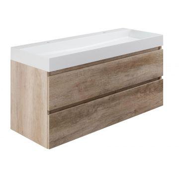 Sub wastafelonderkast inclusief 2 lades met houten greeplijst, 120x45x50 cm, nebraska eiken