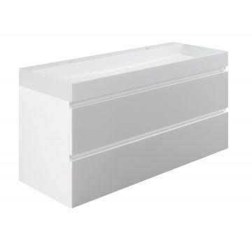 Sub wastafelonderkast inclusief 2 lades met houten greeplijst, 120x45x50 cm, wit glans