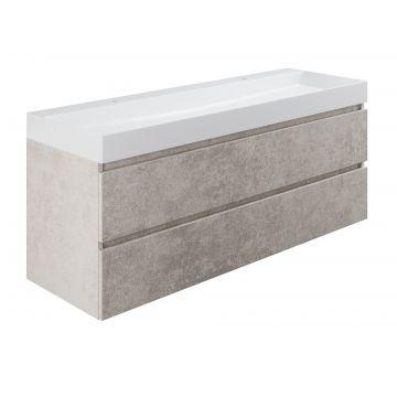 Sub wastafelonderkast inclusief 2 lades met houten greeplijst, 140x45x50 cm, beton zilver