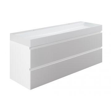 Sub wastafelonderkast inclusief 2 lades met houten greeplijst, 140x45x50 cm, wit glans