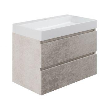 Sub wastafelonderkast inclusief 2 lades met houten greeplijst, 80x45x50 cm, beton zilver