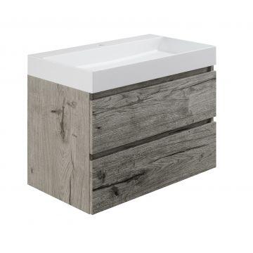 Sub wastafelonderkast inclusief 2 lades met houten greeplijst, 80x45x50 cm, cape elm