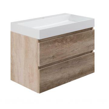 Sub wastafelonderkast inclusief 2 lades met houten greeplijst, 80x45x50 cm, nebraska eiken