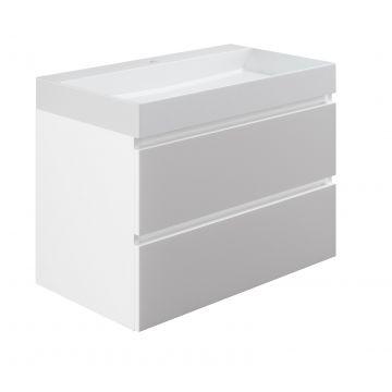 Sub wastafelonderkast inclusief 2 lades met houten greeplijst, 80x45x50 cm, wit glans