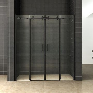 Wiesbaden schuifbare nisdeur 4-delig 180x200 cm 8 mm NANO-coating, matzwart