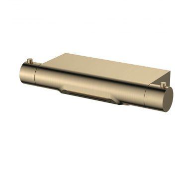 Regn thermostatische badmengkraan met watervaluitloop 4,5 x 30,1 x 13 cm, geborsteld goud