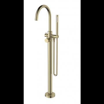 Regn vrijstaande badkraanmengkraan, staafhanddouche en doucheslang 106 cm, geborsteld goud
