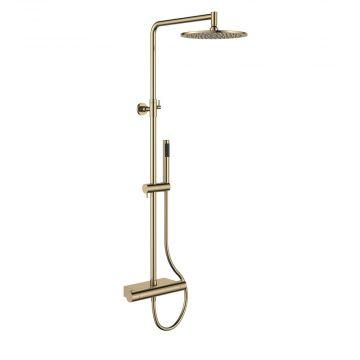 Regn thermostatische regendouche met planchet, geborsteld goud