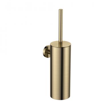 Regn toiletborstel met houder, geborsteld goud