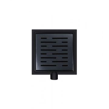 Wiesbaden doucheput met flens en zijuitlaat 15x15 cm, mat zwart