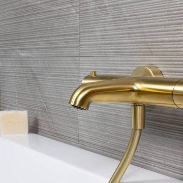 Regn thermostatische badmengkraan 4,2 x 27,4 x 20,2 cm, geborsteld goud