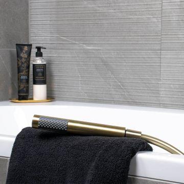 Regn complete thermostatische badinbouwset, geborsteld goud